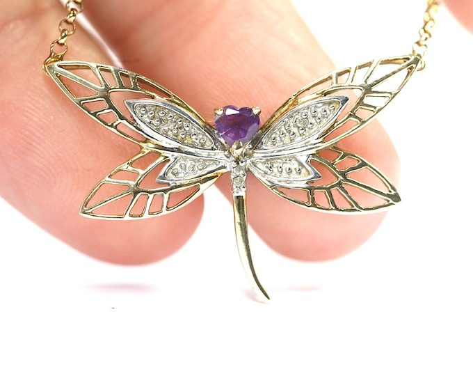Stunning vintage 9ct gold 17 inch Amethyst & Diamond Dragonfly necklace- fully hallmarked