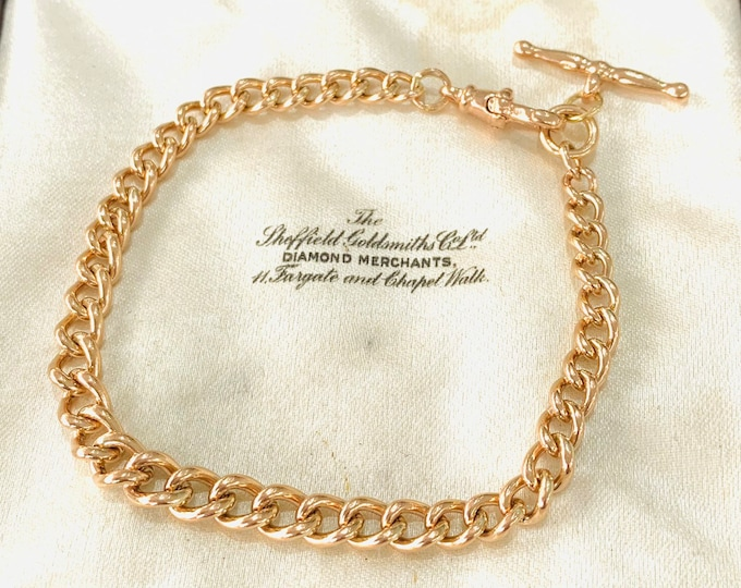 Stunning vintage 9ct rose gold 8 inch graduated bracelet with t-bar - fully hallmarked