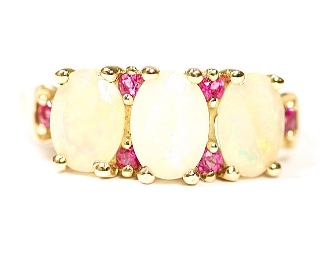Stunning 9ct gold Ethiopian Opal & Rubellite ring - fully hallmarked with Certificate of Authenticity - size N 1/2 or US 6 3/4