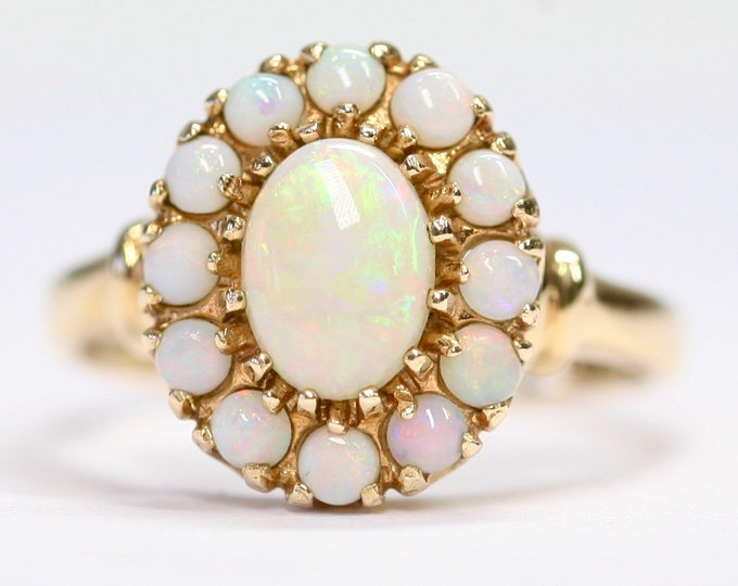 An exceptional beautifully coloured vintage 10ct gold Opal cluster - fully hallmarked - size P or US 7 1/2