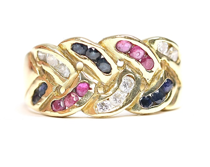 Superb vintage 18ct yellow gold Multi gem ring with White Sapphire, Blue Sapphire and Rubies  - stamped 750 - size N or US 6 1/2
