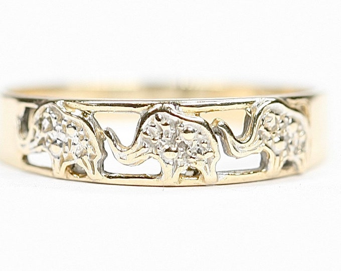 Vintage 9ct gold Elephant ring - hallmarked Birmingham 1986 - size N or US 6 1/2