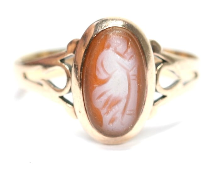 Stunning antique Edwardian 9ct rose gold Cameo ring - stamped 9CT - size J or US 4 1/2