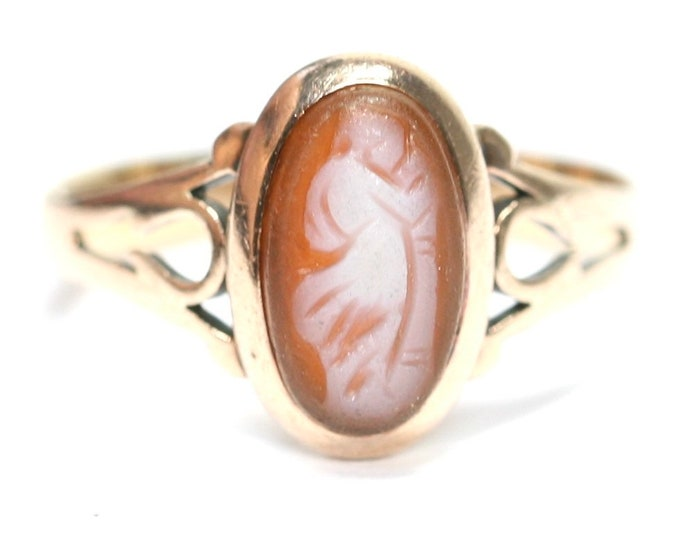 Stunning antique Edwardian 9ct rose gold Cameo ring - stamped 9CT - size J or 4 1/2