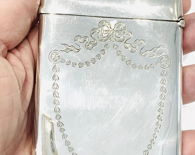 Superb antique Edwardian sterling silver card case engraved with ribbons & swags - hallmarked Birmingham 1910