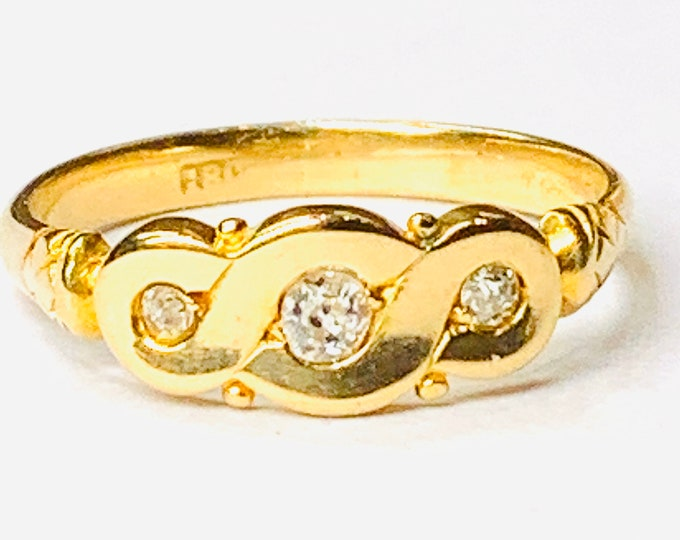 REDUCED ***Stunning antique 18ct yellow gold Diamond band / engagement ring - size N or US 6 1/2