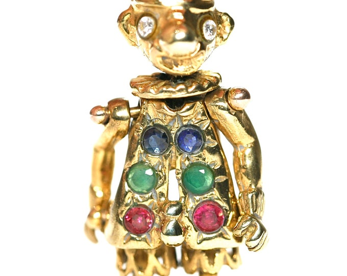 Vintage 9ct gold articulated Clown pendant