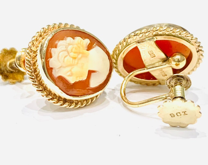 Stunning vintage 9ct yellow gold Cameo screw back earrings - hallmarked Birmingham 1973 - 5gms