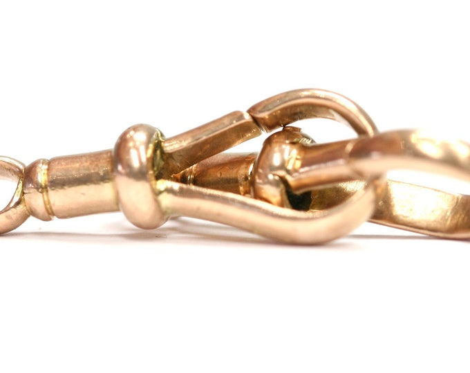 Superb antique Edwardian matching 9ct rose gold Albert chain dog clips.