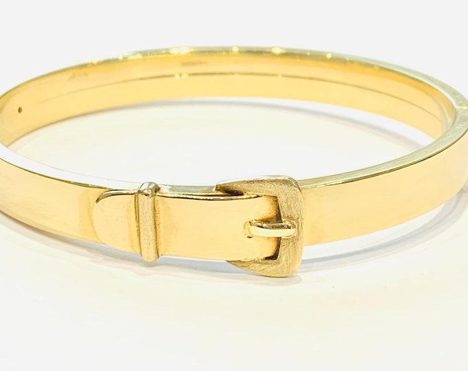 Superb heavy vintage 9ct yellow gold belt buckle bangle - hallmarked London 1986 - 23.3gms