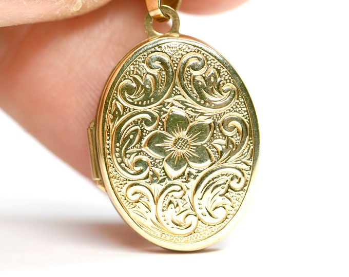 Superb vintage 9ct yellow gold double Locket 18 inch necklace - fully hallmarked
