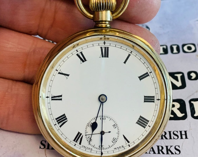 Superb antique gold plated Elgin Illinois cased pocket watch in full working order - circa 1920
