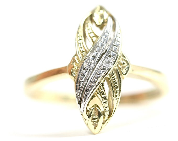 Superb vintage 14ct / 14K yellow and white gold Diamond ring - size M or US 6