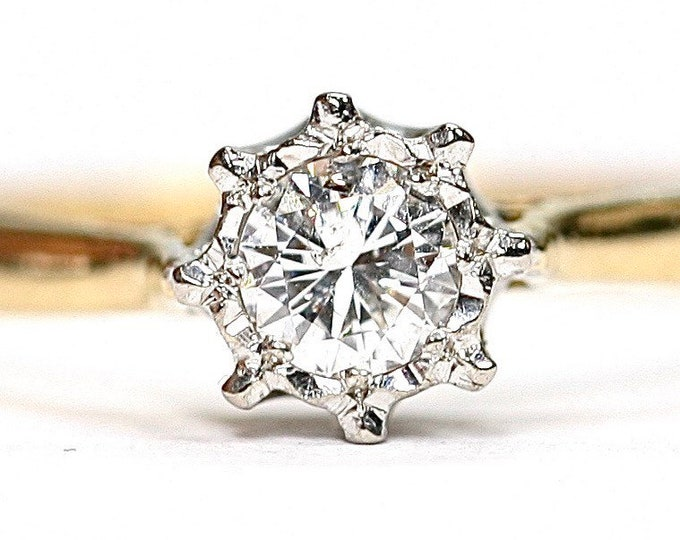 Beautifully sparkling antique 18ct gold 0.30 Diamond ring / engagement ring - size N or US 6 1/2