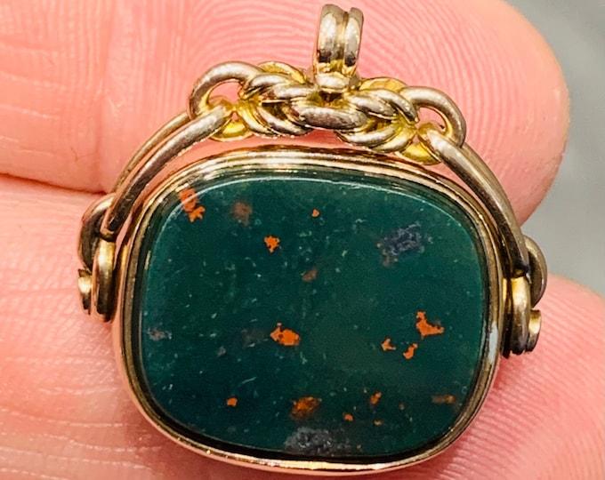 Superb 120 year old Victorian 9ct rose gold Bloodstone spinning fob pendant - hallmarked Birmingham 1900 - 7.5gms