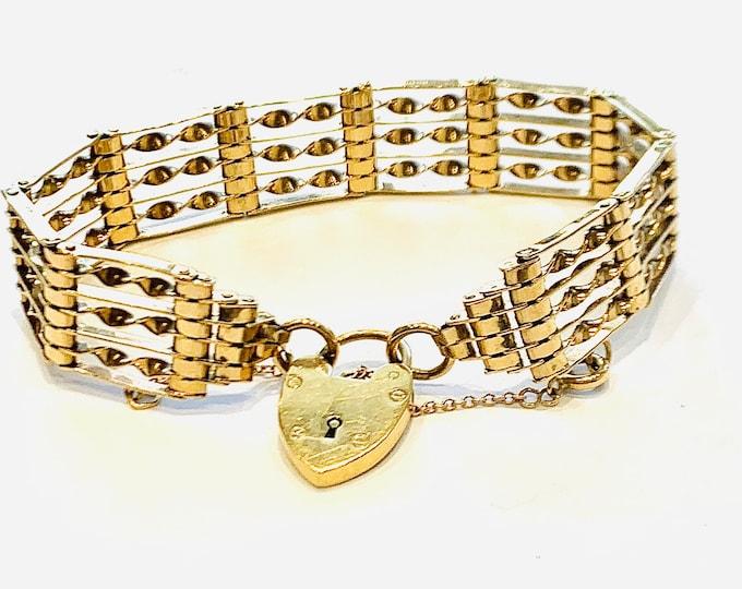 Superb vintage 9ct yellow gold 7 1/2 inch gate bracelet - hallmarked Birmingham 1968 - 19.3gms