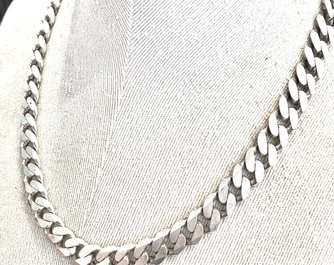 Vintage very heavy sterling silver 20 inch curb chain - fully hallmarked - 97gms / 3oz