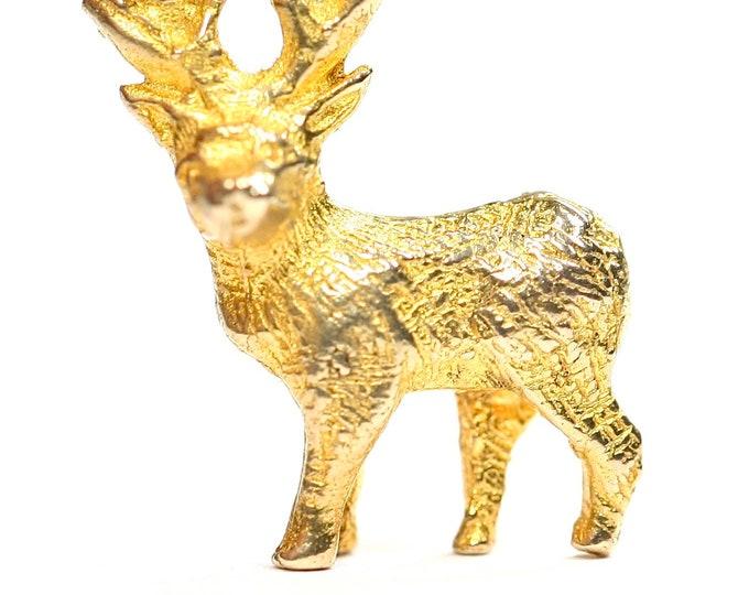 Stunning vintage 9ct yellow gold Stag charm - hallmarked Birmingham 1962