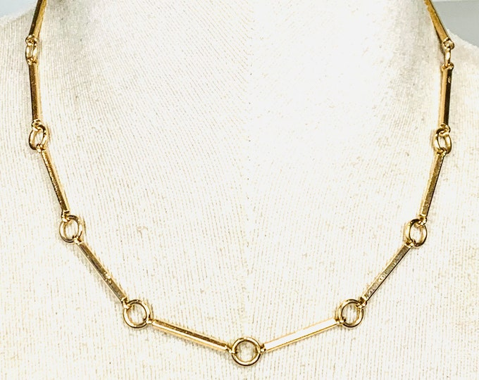 Superb heavy vintage 9ct yellow gold 18 inch bespoke necklace - stamped 9ct - 27gms