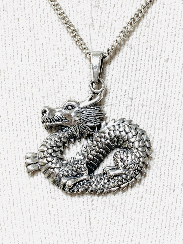 Vintage Dragon Sterling Silver Pendant