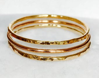 9ct yellow & rose gold stacking rings