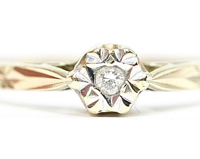Vintage 9ct gold Diamond solitaire ring - hallmarked Birmingham 1993 - size M or US 6
