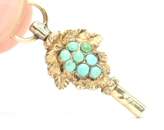 Stunning rare antique Georgian / early Victorian 9ct gold pocket watch key with Turquoise