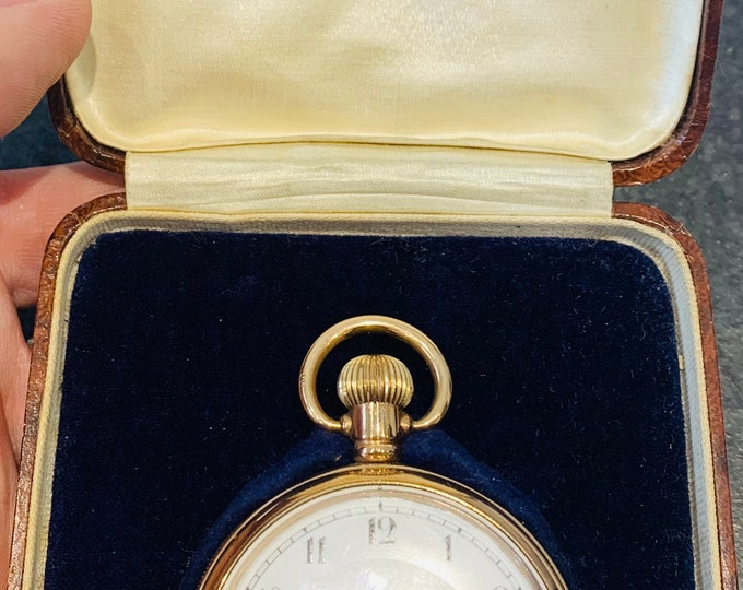 Superb antique gold filled Swiss made pocket watch in the original presentation case - circa 1920 - full working condition