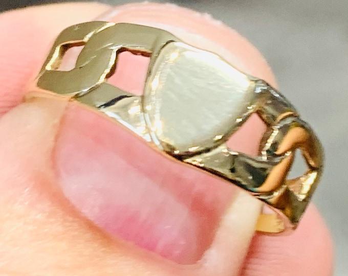 Superb vintage 9ct gold signet or pinky ring - hallmarked London 1985 - size V or US 10.5