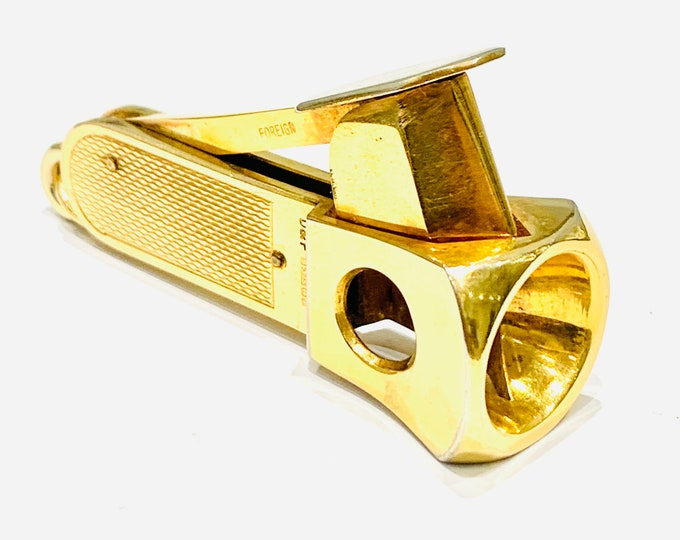 Superb vintage 9ct yellow gold Cigar or Cheroot cutter - hallmarked Birmingham 1973 - Deakin & Francis