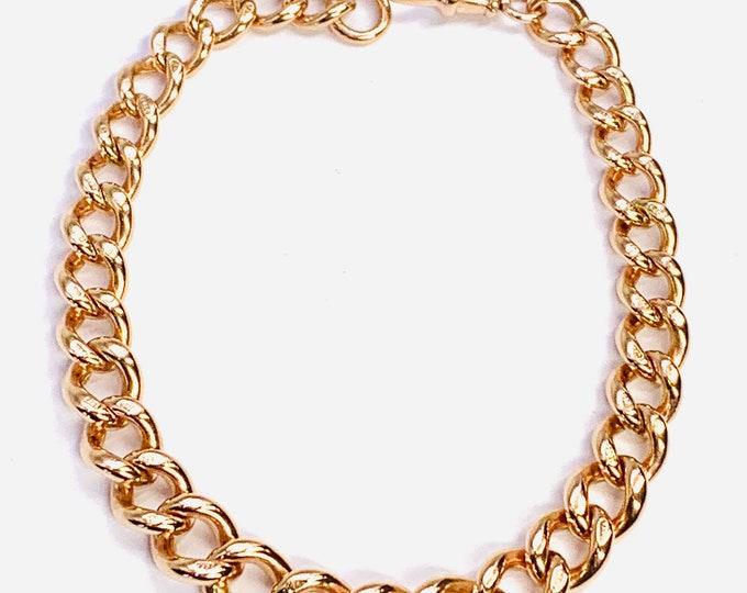 Superb heavy antique Victorian 9ct rose gold 8 1/2 inch graduated Albert bracelet - fully hallmarked - 31gms