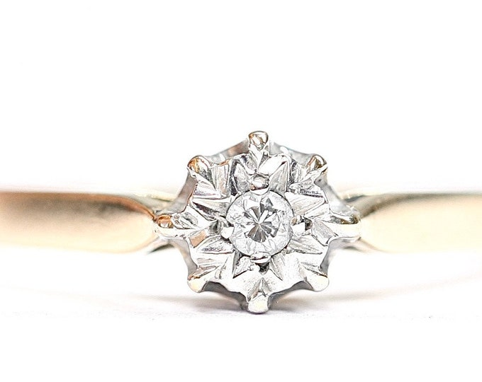Vintage 9ct gold Diamond solitaire / engagement ring- hallmarked London 1987 - size M or US 6