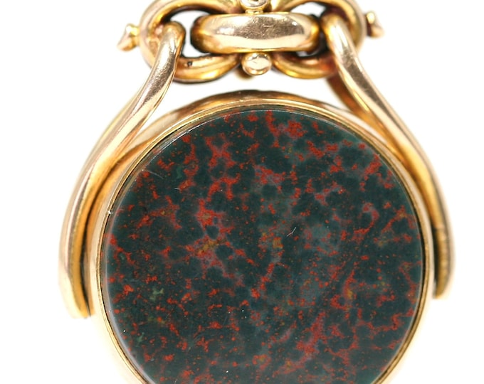 An exceptional heavy and large Victorian 9ct gold Bloodstone & Sardonyx spinning fob pendant - Birmingham 1888 - 17gms