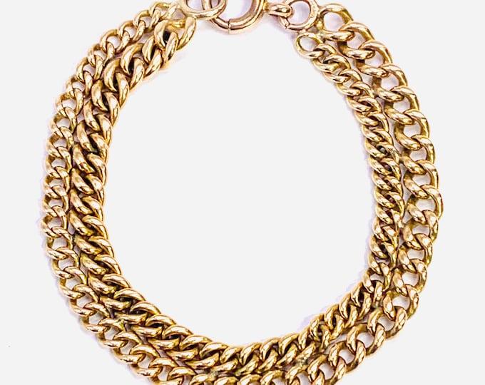 Superb heavy antique Victorian 9ct gold 7 1/2 inch Albert chain bracelet - fully hallmarked - 29gms