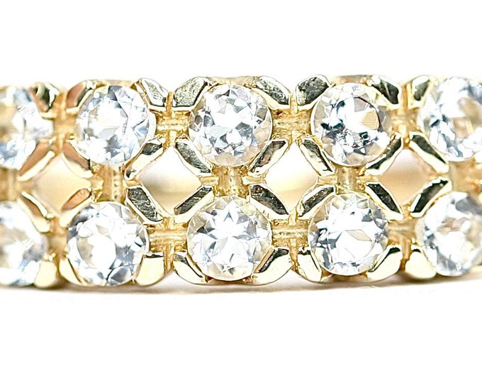 Stunning vintage 9ct yellow gold Cubic Zirconia 2 row dress ring - fully hallmarked - size N or US 6.5