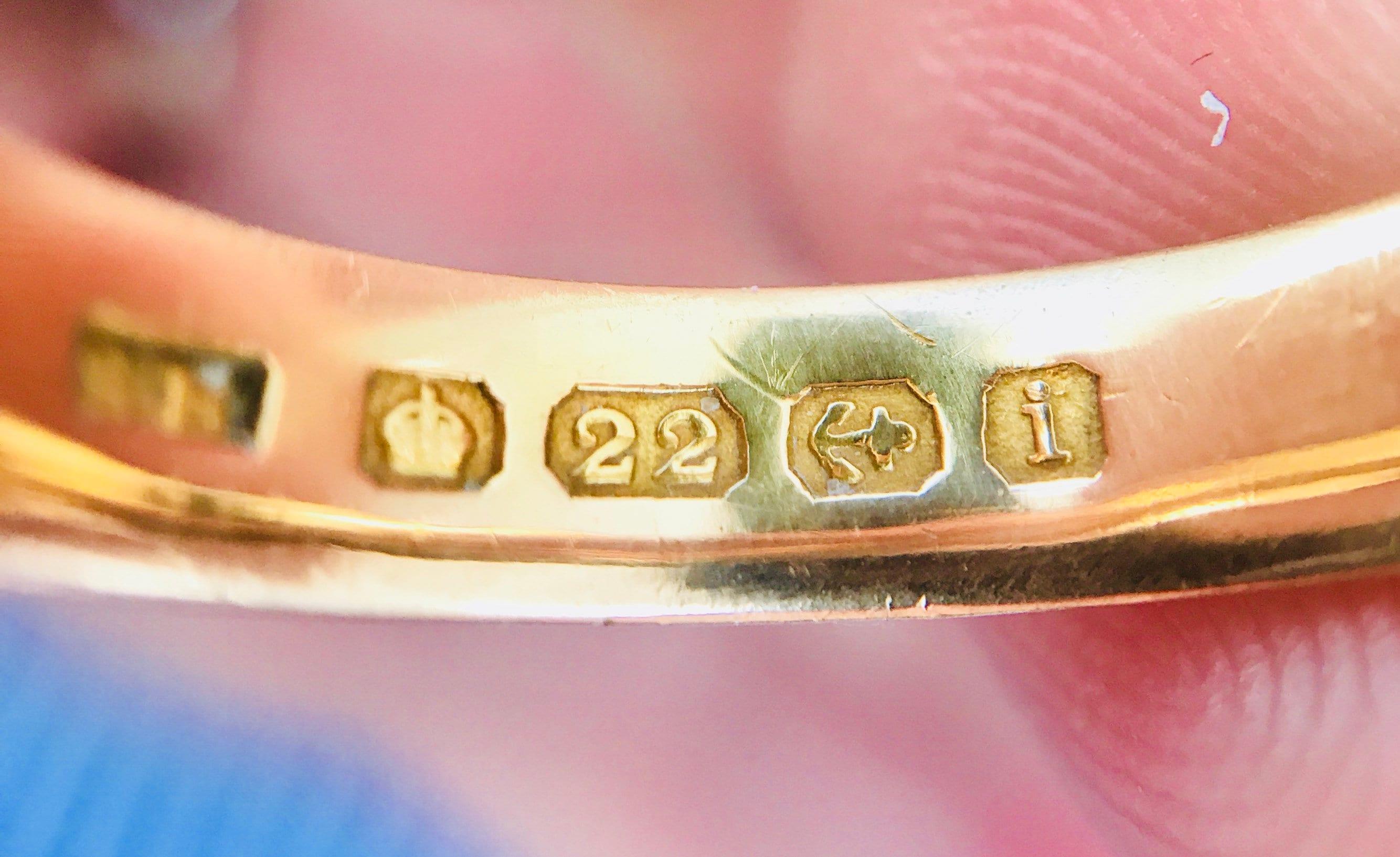 Superb antique Edwardian 22ct gold wedding ring - hallmarked ...