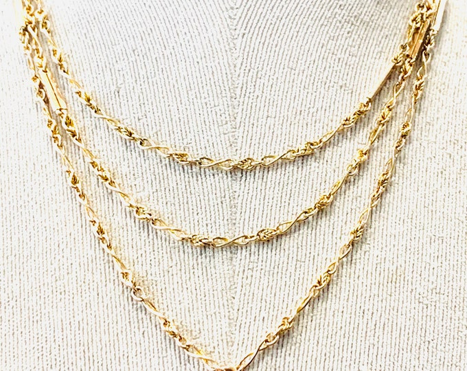 Stunning antique Victorian 9ct yellow gold 54 inch fancy link necklace - 31gms