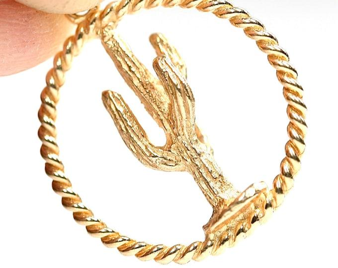 Superb vintage 14ct yellow gold Cactus pendant - stamped 14K
