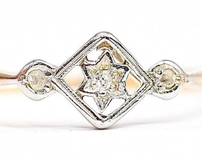 Superb antique Art Deco 18ct gold & Platinum diamond ring - size N or US 6.5