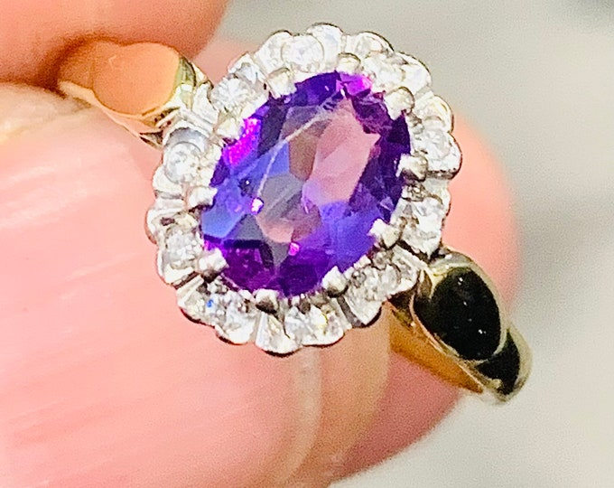Stunning vintage 18ct gold Amethyst and Diamond cluster ring - hallmarked Birmingham 1966 - size L or US 5.5