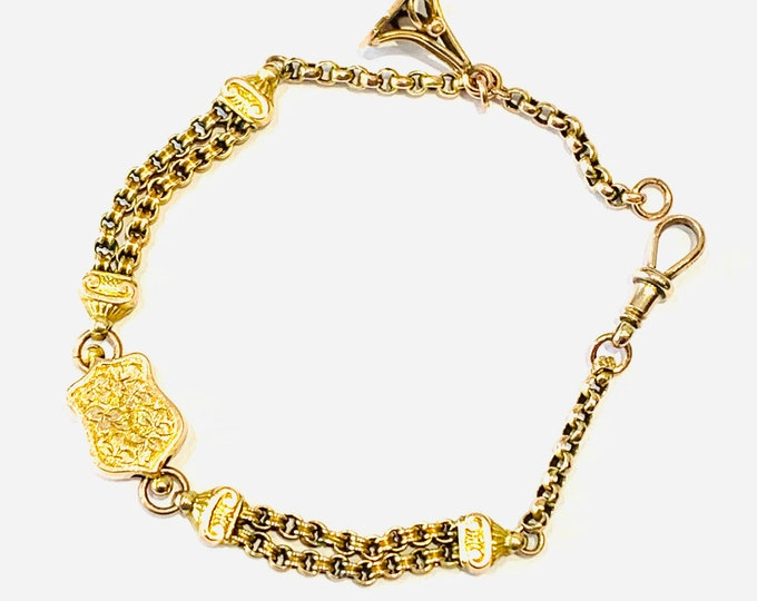 Superb antique Victorian 9ct gold 7 1/2 inch Albertina bracelet with fob - stamped 9C