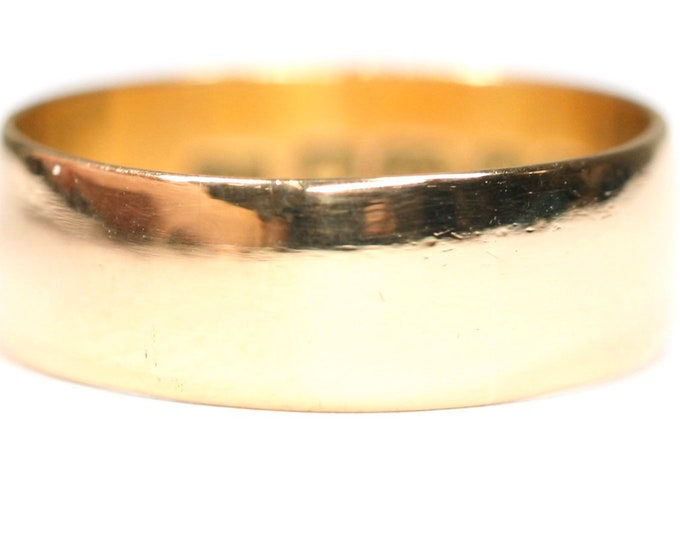 Superb antique 22ct gold wedding ring - hallmarked Birmingham 1921 - size N or US 6 1/2