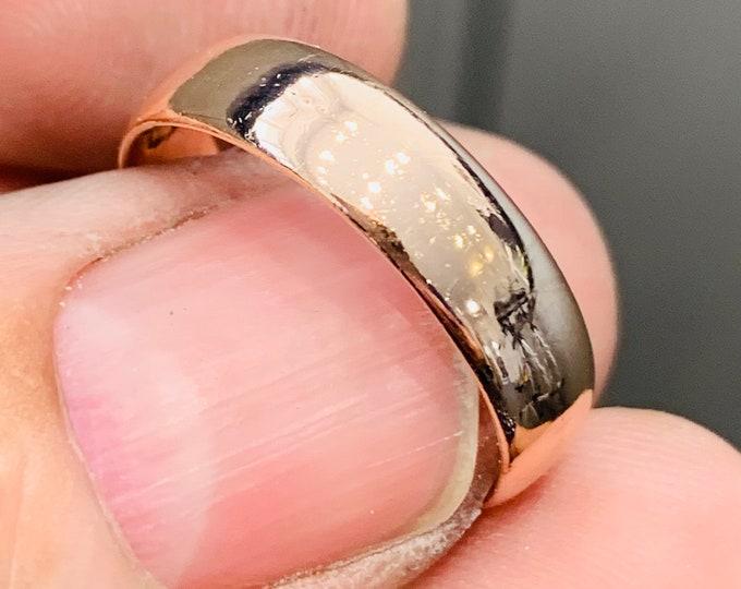 Superb antique 15ct rose gold wedding ring - stamped - size S or US 9