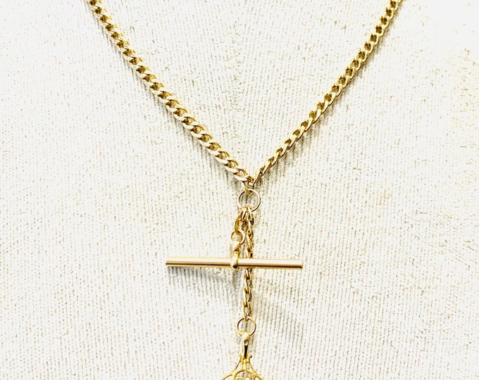 Stunning vintage 9ct yellow gold 18 inch necklace with t-bar and spinning fob pendant - fully hallmarked