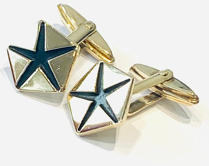 Vintage heavy 9ct yellow gold toggle back Cufflinks - 9gms