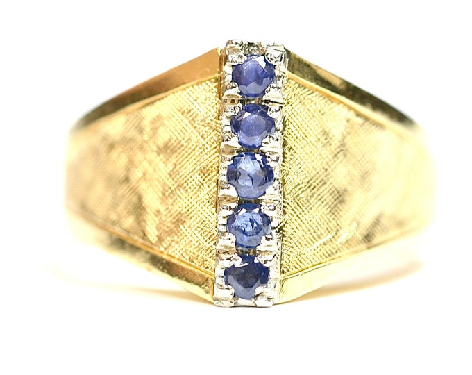 Superb vintage 18ct yellow gold Sapphire statement ring - stamped 750 - size M or US 6
