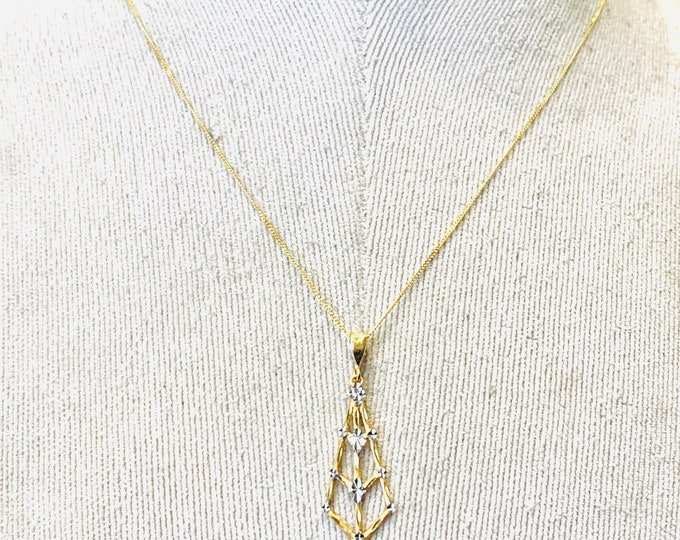 Stunning vintage 9ct yellow and white gold 18 inch geometric necklace - fully hallmarked