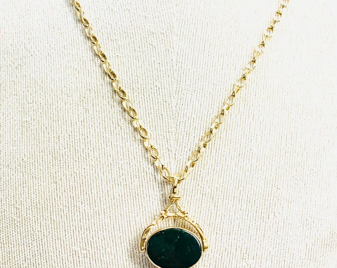 Superb heavy vintage 9ct yellow gold 24 inch spinning fob necklace - hallmarked Birmingham 1987 - 18.5gms