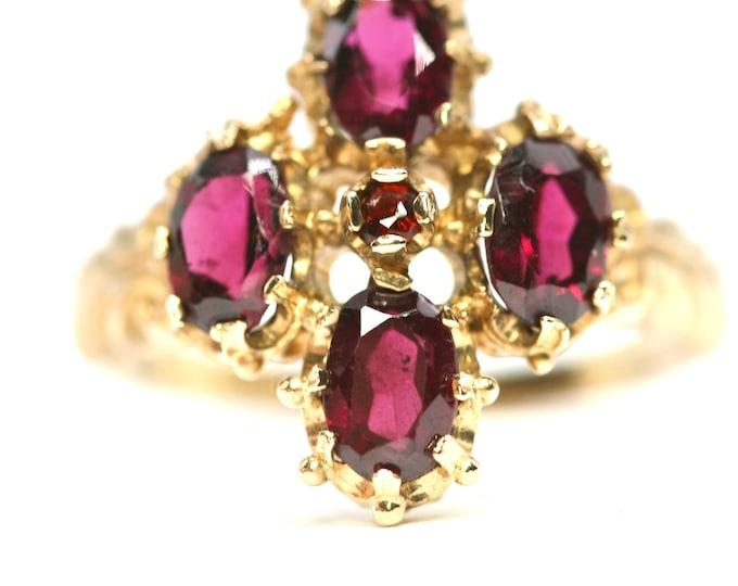 Superb vintage Georgian style 9ct gold Amethyst Quatrefoil ring - hallmarked Birmingham1993 - size N 1/2 or US 6 3/4