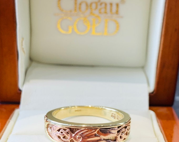 Clogau - Gold of Royalty - rare heavy 9ct Welsh rose & yellow Dragons Wing gold ring - fully hallmarked - size T 1/2 or US 10
